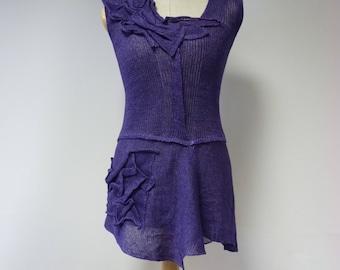 Amazing feminine purple linen top, M size.