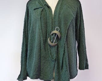 Special price, green boucle cardigan with pin, XL size.