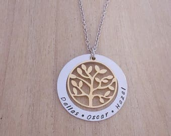Personalised Necklace. Name Necklace. Hand Stamped. Tree of Life. Two Tone.