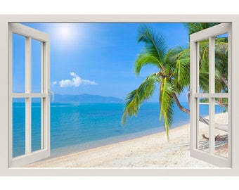 Window Frame Mural Tropical beach with coconut palm - Huge size - Peel and Stick Fabric Illusion 3D Wall Decal Photo Sticker