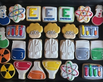 12 MAD SCIENTIST or SCIENCE inspired vanilla sugar cookies   - lab scientist - chemistry - retirement party - doctor - teacher - boy -girl