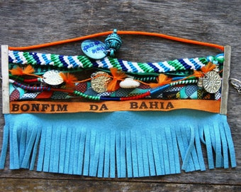 Blue fringes for the wrist or ankle and cuff bracelets