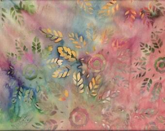 Tissu BATIK graphique, multicolore, Fleurs et feuilles