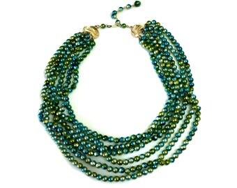 Vintage adjustable green necklace multi strand necklace with iridescent beads made in Japan jewelry