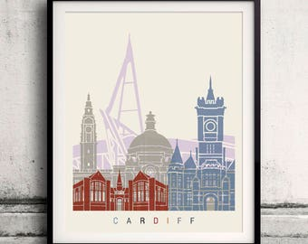 Cardiff skyline poster - Fine Art Print Glicee Poster Decor Home Gift Illustration Wall Art Artistic Colorful Landmarks - SKU 2667