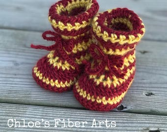Wizard Baby Booties, Crochet Baby Booties, Newborn Booties, Stripped Booties