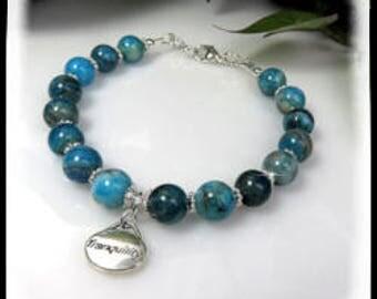 Charm bracelet, blue crazy lace agate bracelet, gemstone bracelet, tranquility charm, blue bracelet, agate jewelry, agate gemstones