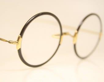 Small Antique Zylo Gold Round Windsor Style Eyeglasses