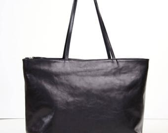 Large Top Zip Black Leather Tote Bag - TINA - Handmade Black Leather Tote