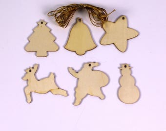 Wooden Ready to Decorate Christmas Shapes Pack of 54 Suitable for Children