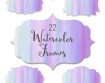 "Watercolor frames: ""Pink and Blue Watercolor Frames"" watercolor labels, digital frames clipart, scrapbooking labels clipart, digital labels"