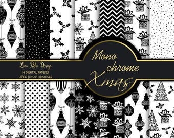 Digital paper Christmas monochrome, black christmas digital paper, monochrome christmas papers, black and white christmas backgrounds