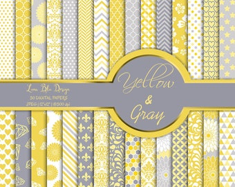 Yellow and Gray digital paper commercial use, yellow digital paper pack, yellow scrapbook paper, yellow backgrounds, cardmaking, invitations