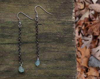 Apatite & Chain Dangle Earrings // Small Rough Cut Blue Gemstone Dangle Earrings // Tiny Blue Apatite Stone  Earrings // Gifts for Her