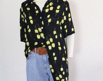 Vintage gebloemd blousje | maat M/38 | vintage floral blouse | black floral blouse | size M/38 DU