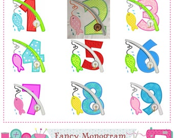 Fishing Numbers applique,Birthday Numbers applique,Fishing applique,Fishing design,Fishing embroidery,Numbers embroidery.