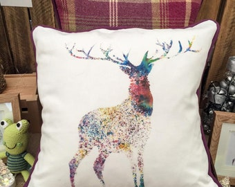 Handmade Multi Coloured Stag Print Cushion From An Original Design With Balmoral Tartan Wool Reverse