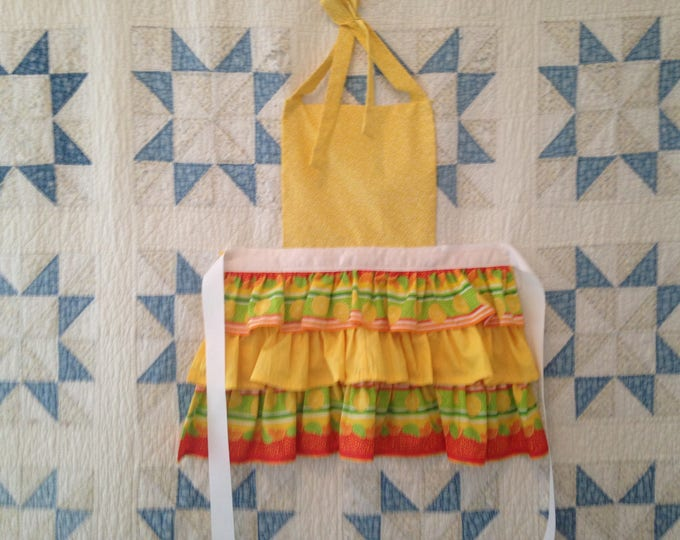 Citrus Triple Ruffled Apron. Lemon Tangerine Lime Seersucker Frilly Ruffled Apron White Ribbon ties at waist