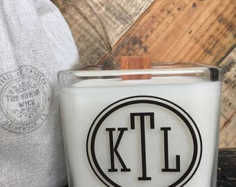 Soy Candle-Monogram Candles-Personalized Monogram-Wedding Monogram-Wedding Gifts-Bridal Shower Gifts-Bridesmaid's Gifts