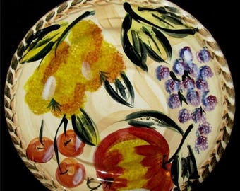 ON SALE REDUCED Tabletops Unlimited Frutas Salad Plate Embossed Grapes, Pears, Apples, with leaf edge.