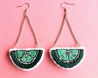 Lime Patch Long Earrings / Hand Embroidered Fruit / Hand Made Felt Accessory / Travel Gift