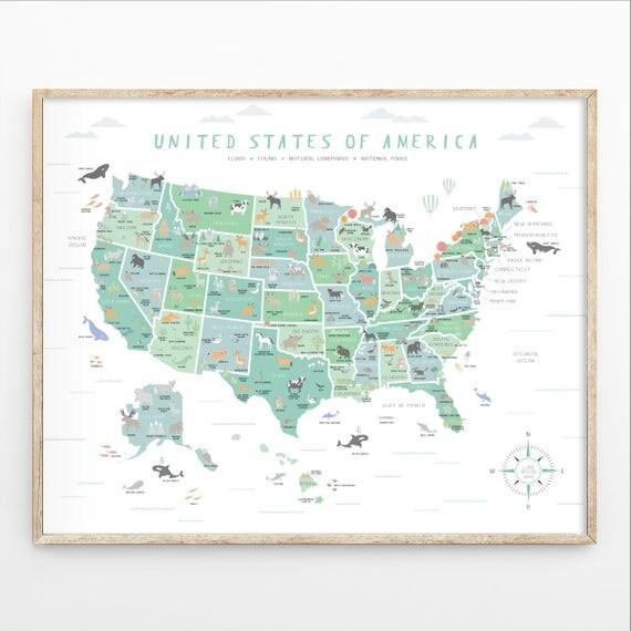 USA Map US Map Wall Art Map Nursery Art My First Map Map - Us map wall art