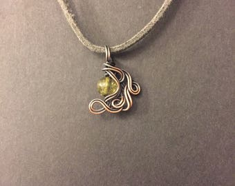 Green Tourmaline Copper Wrapped Pendant Necklace