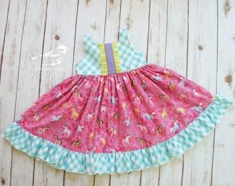 3t Girls dress girls pink dress girls pony dress girls birthday dress girls ruffle dress girl twirly dress toddler girl dress ready to ship