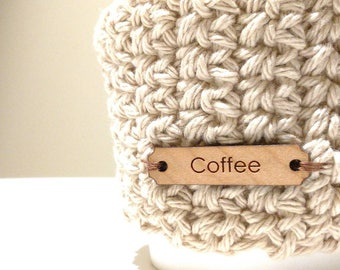 Brown Cup Cozy Cup Sleeve, knitted brown Coffee Sleeve, Reusable Coffee Cozy, Eco friendly cup cozy with coffee wooden button
