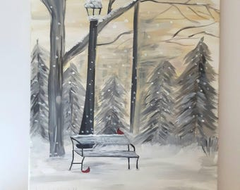 Winter art on canvas, Cardinals in the snow, Acrylic art on canvas