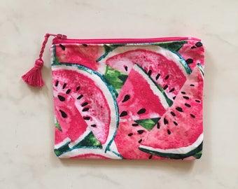 Watermelon fabric pouch - purse - Makeup - shopping