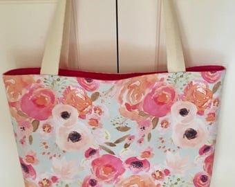 Floral tote-shopping bag-market bag-baby bag