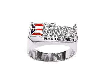 SNS170M 10mm Silver Pave-cut Finished National Flag Name Ring