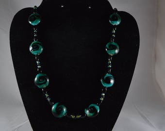 Green and Black swirl necklace