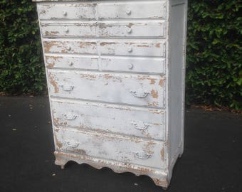 SOLD Vintage Chippy Country Farmhouse Shabby Chic Distressed Hiboy Dresser Chest of Drawers