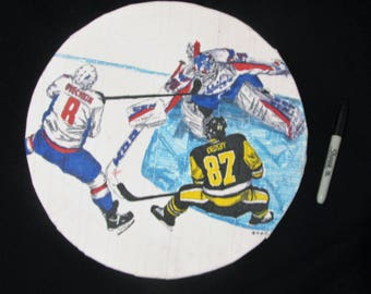 Ovechkin Crosby hockey piece on athletic tape pen and ink drawing