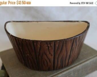Christmas in July Vintage Treasure Craft Ceramic Brown Woodgrain Flower Pot Planter - 1958, Half Moon Shape