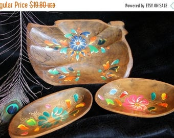 SALE Hand Painted Wooden Bowl Set
