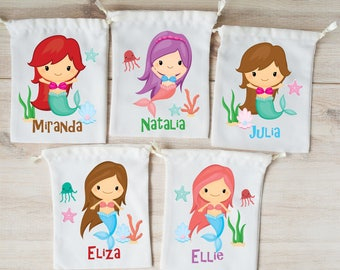 Mermaid Favor Bags Mermaid Party Favors Personalized Party Gift Bags Loot Bags Goodie Bags Birthday Party Favors Under the Sea