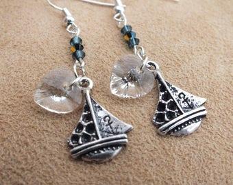 Yacht earrings, blue earrings, Swarovski earrings, nautical earrings