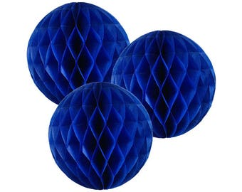 Just Artifacts Tissue Paper Honeycomb Ball (Set of 3, Blueberry)