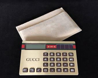 1970's Gucci calculator solar cell calculator vintage Aurora Consumer Calculators made in Taiwan small solar calculator collectible Gucci