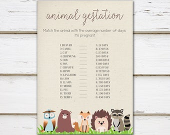 Printable Woodland Baby Shower Game, Animal Gestation Game, Animal Pregnancy, Match the Baby Animal, Quiz, Spring, Woodland, MB200