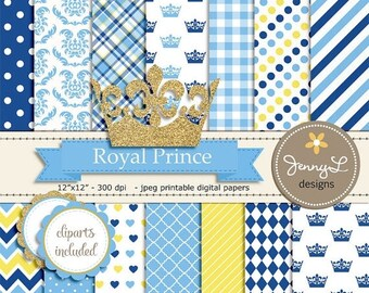 50% OFF Royal Little Prince Digital papers and Clipart, Gold Crown Baby Shower, Birthday Blue Birth Announcement, Scrapbooking Party Theme