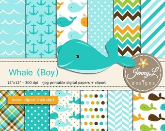 50% OFF Whale Boy Digital papers and Clipart SET, Anchor, water wave, Animal for Birthday, Baby Shower, baptism Scrapbookin, Planner