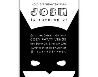 Batman Invitation, Holy Birthday Batman, Batman Invite, Batman Birthday Party, Batman Birthday, Batman Inspired, Black and White, Modern