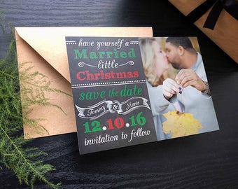 Married Little Christmas Photo Save the Dates • Christmas Card • Christmas Save the Date • Christmas Wedding Save the Dates • Save the Date