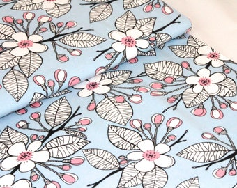Organic Cotton Jersey Fabric | Paapii | Apple Garden Blue