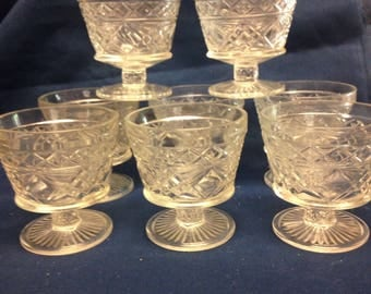 Pressed Glass Sherbet Cups - Set of 8