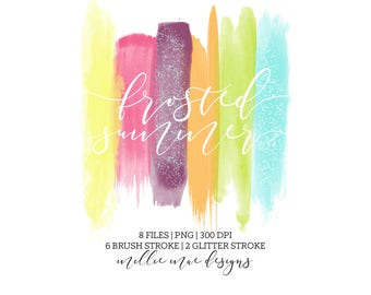 INSTANT DOWNLOAD - Frosted Summer Brush Stroke - Yellow - Pink - Purple - Orange - Green - Blue - Glitter